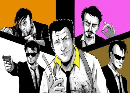 1990's Movie - RESERVOIR DOGS - COLOUR BLOCKS ART canvas print - self adhesive poster - photo print